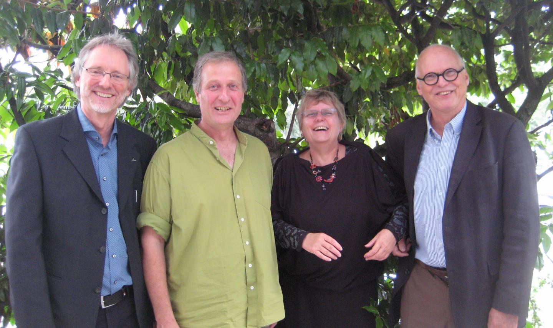 v.l. Achim Scholz, Urs Chiara und Brigitte Pythoud (Tagungsorganisation), Kees Hammink